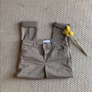 Cropped loft olive colored pants